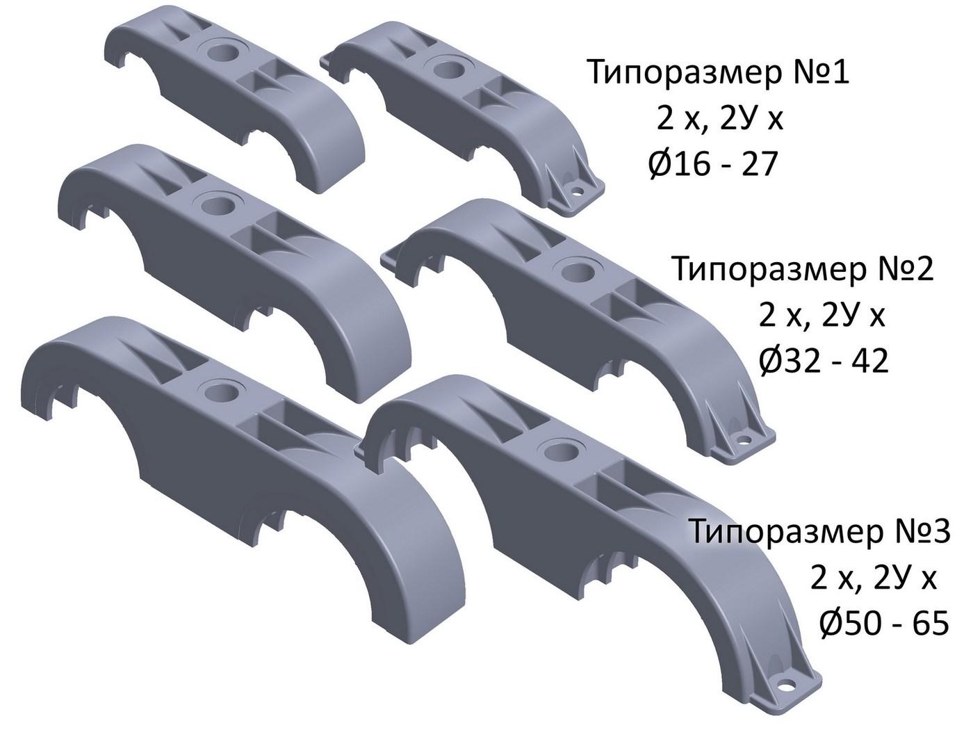 Двухтрубные крепления (без уха / с ухом)