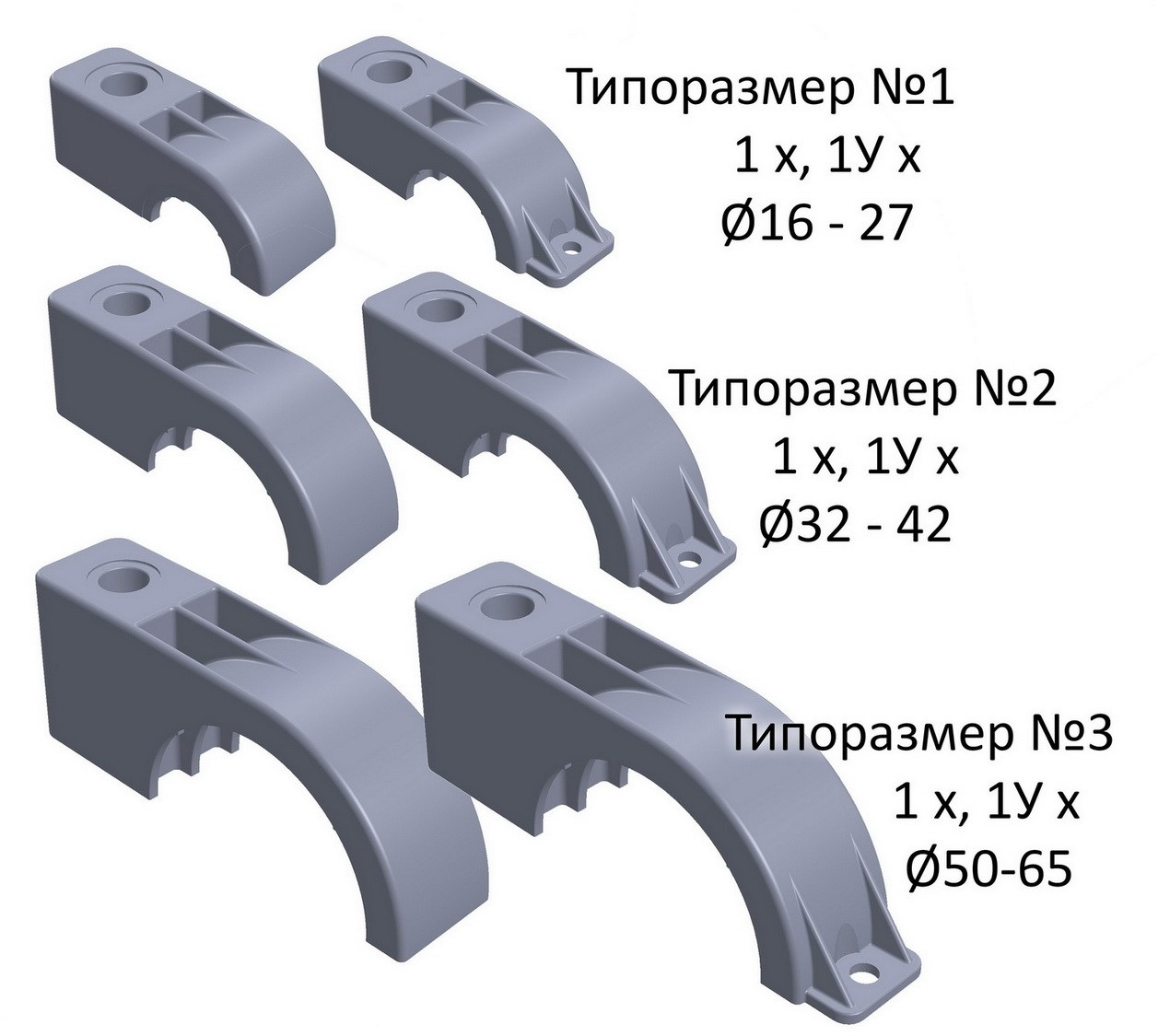 Однотрубные крепления (без уха / с ухом)